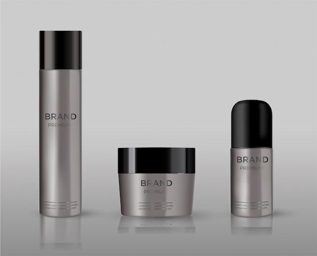 Maquete de metal em branco pacote cosmético isolado. tubo de metal para espuma ouvir estilo, spray de cabelo, desodorante, creme.