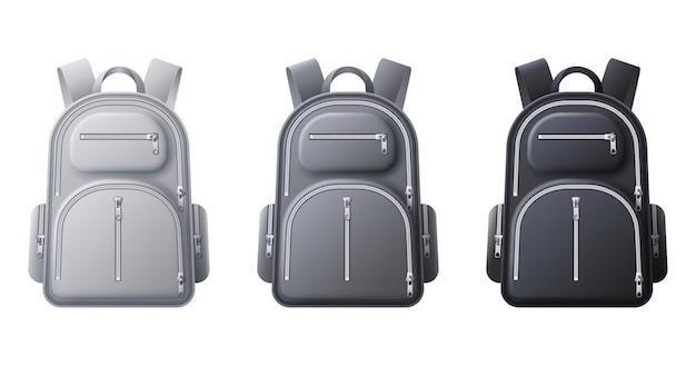 Maquete de mochila de esporte. mochilas realistas em preto, cinza e branco, bolsas para viagens, roupas esportivas ou escolares e sapatos, modelo de vetor 3d. mochila com ilustração isolada de zíper e bolsos