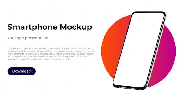 Maquete de modelo realista smartphone para apresentação de experiência do usuário.
