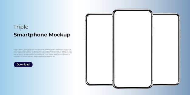 Maquete de modelo triplo smartphone realista.