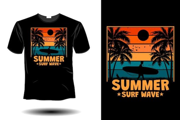 Maquete de ondas de surf de verão com design retro vintage