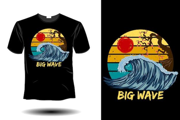 Maquete de ondas grandes com design retro vintage