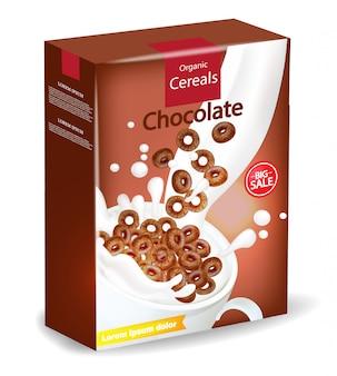 Maquete de pacote de cereais orgânicos de chocolate