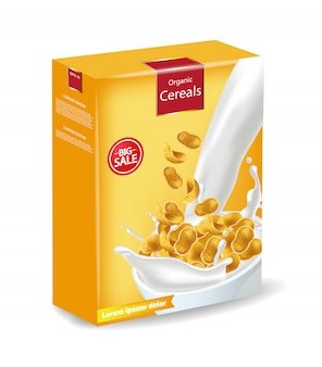 Maquete de pacote de flocos de milho