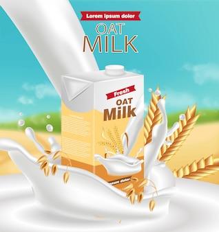 Maquete de pacote de leite de aveia