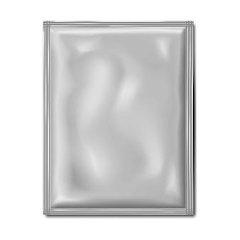 Maquete de pacote de pacote sachê branco em branco malote plano maquete de produto médico ou cosmético para alimentos