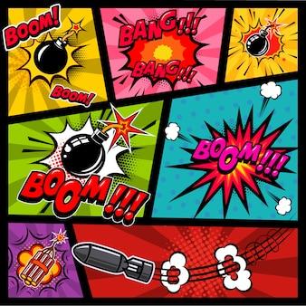 Maquete de página em quadrinhos com cor de fundo. bomba, dinamite, explosões. elemento para cartaz, cartão, impressão, banner, folheto. imagem