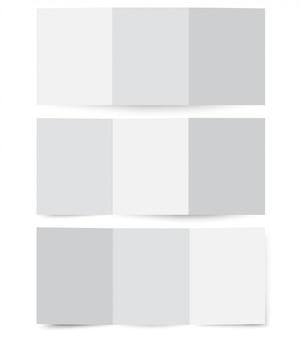 Maquete de papel brochura dobrada, modelo de folheto de papelão.