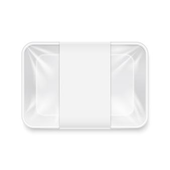 Maquete de plástico descartáveis vazias brancas do recipiente da bandeja do alimento.
