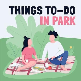 Maquete de post de mídia social divertido de fim de semana de verão. coisas para fazer na frase do parque. modelo de design de banner da web. impulsionador de piquenique romântico, layout de conteúdo com inscrição.