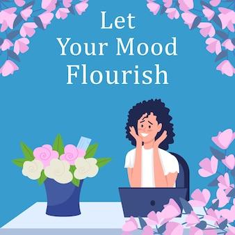 Maquete de postagem de flores para presente nas redes sociais
