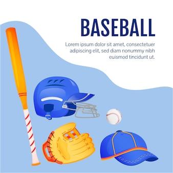 Maquete de postagem de mídia social de equipamento de softball. artigos de beisebol. modelo de design de banner da web. impulsionador de equipamentos esportivos, layout de conteúdo com inscrição.