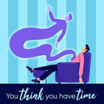 Maquete de postagem de mídia social de morte. você acha que tem frase de tempo. modelo de design de banner da web. alma e corpo. booster, layout de conteúdo com inscrição. cartaz, anúncios impressos e ilustração plana