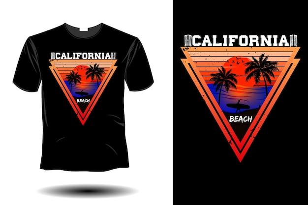 Maquete de praia da califórnia com design retro vintage