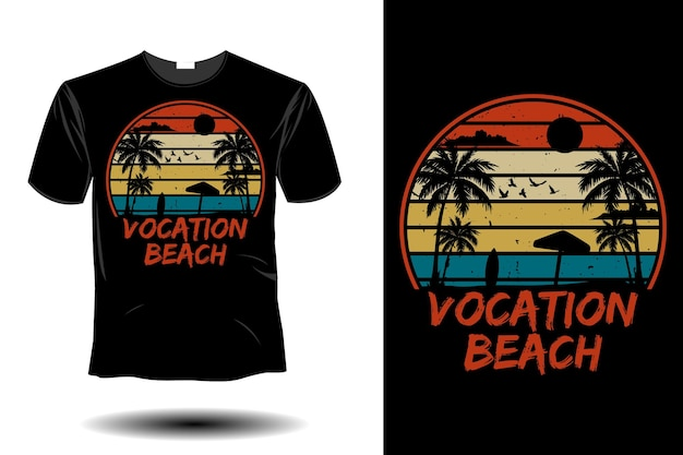 Maquete de praia vocacional com design retro vintage