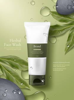 Maquete de produto de conceito de cuidado simples e natural sobre fundo verde com orvalho