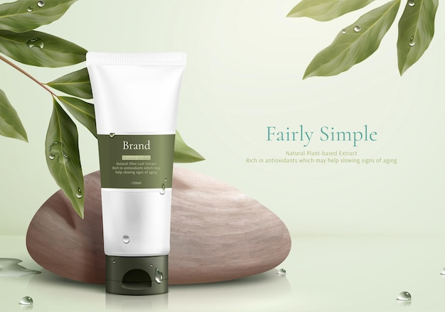 Maquete de produto de conceito de cuidado simples e saudável com seixo e eucalipto limão