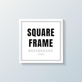 Maquete de quadro quadrado branco realista em fundo cinza