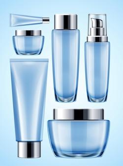Maquete de recipiente cosmético azul definido em ilustração 3d
