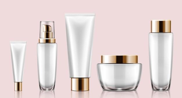 Maquete de recipiente cosmético branco definido em ilustração 3d