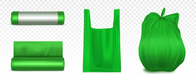 Maquete de saco de lixo, rolo de plástico e saco cheio de lixo vazio. pacote descartável verde para lixo. suprimentos domésticos para resíduos jogam isolado no fundo. ilustração 3d realista