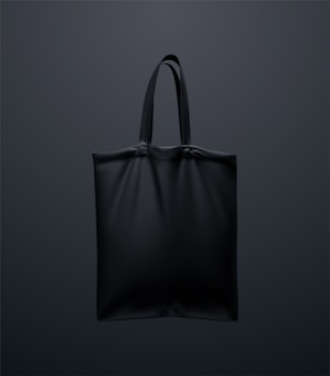 Maquete de sacola preta. ilustração 3d design de bolsa têxtil reutilizável. sacola de compras de lona realista. conceito eco