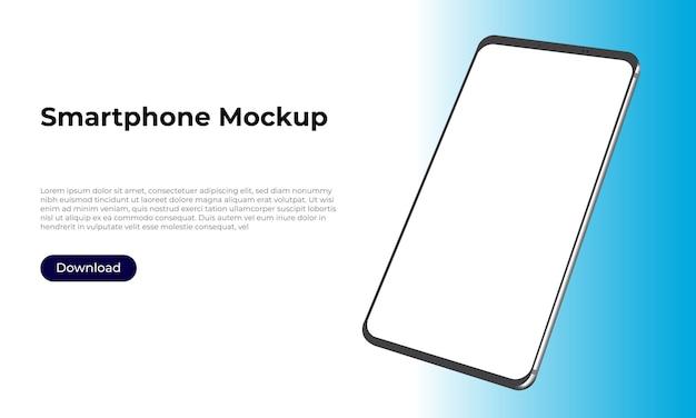 Maquete de smartphone 3d girada para apresentação de aplicativos e design de experiência do usuário.