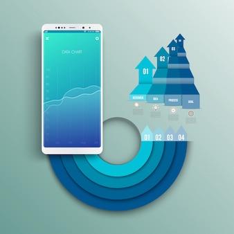 Maquete de smartphone branco com tela de gráfico de infográficos.