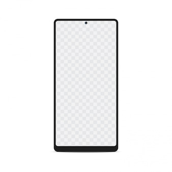 Maquete de smartphone com tela vazia. smartphone com tela transparente, vetor.