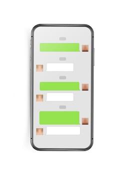 Maquete de smartphone sem moldura moderna com layout de interface de bate-papo