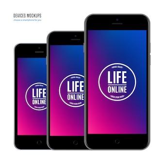 Maquete de smartphones na cor preta com protetor de tela colorido isolado no fundo branco