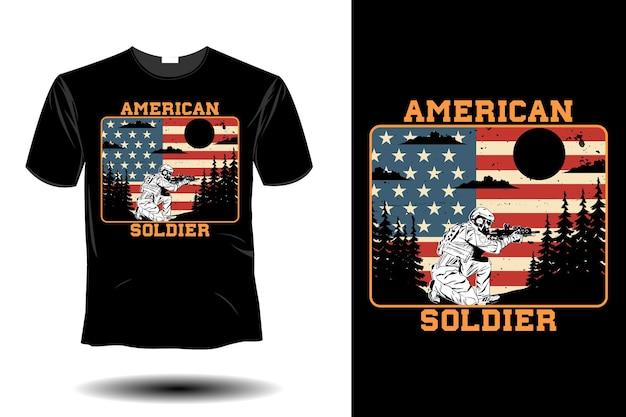 Maquete de soldado americano com design retro vintage
