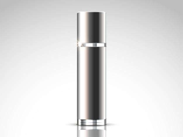 Maquete de spray de prata, recipiente em branco na ilustração 3d