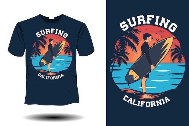 Maquete de surfe da califórnia com design retro vintage