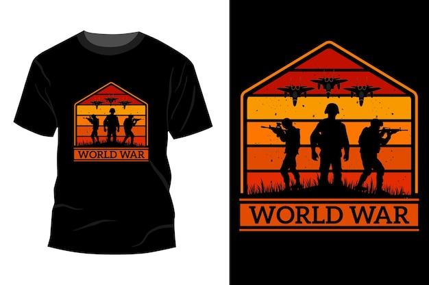 Maquete de t-shirt da guerra mundial com design vintage retro