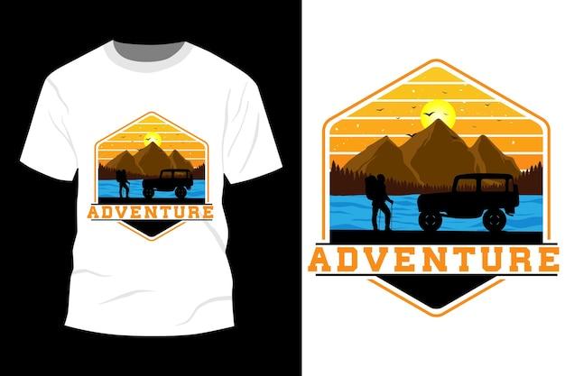 Maquete de t-shirt de aventura com design vintage retro