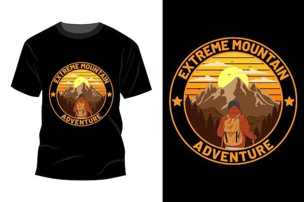 Maquete de t-shirt de aventura extrema montanha design retro vintage