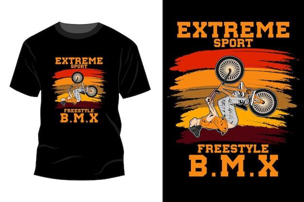 Maquete de t-shirt de estilo livre bmx de esporte radical vintage retro