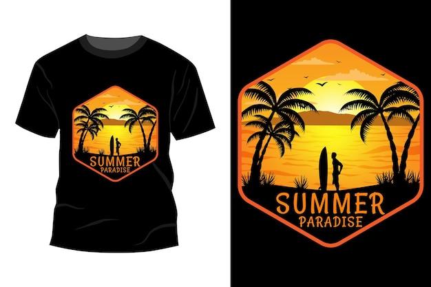 Maquete de t-shirt do paraíso de verão com design vintage retro
