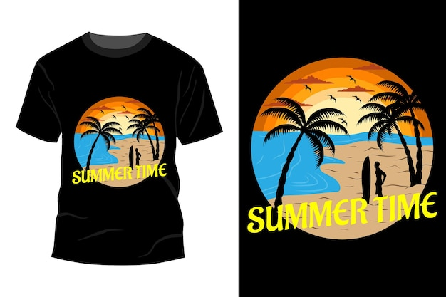 Maquete de t-shirt para o horário de verão com design vintage retro