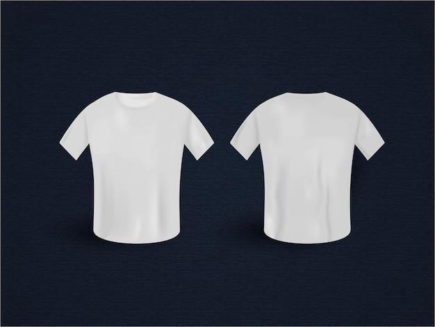 Maquete de t-shirt realista branco com vista frontal e traseira no fundo azul.