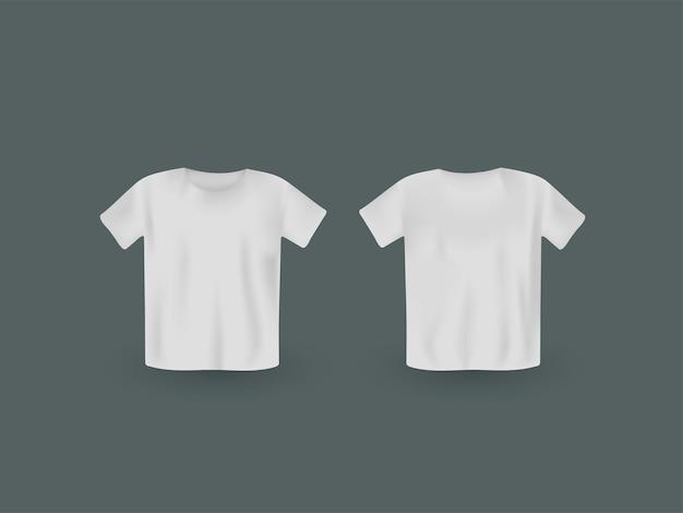 Maquete de t-shirt realista de pescoço redondo branco com vista frontal e traseira em fundo cinza.