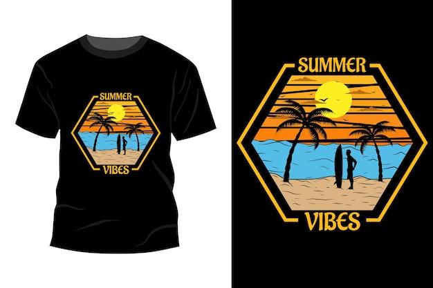 Maquete de t-shirt summer vibes design vintage retro