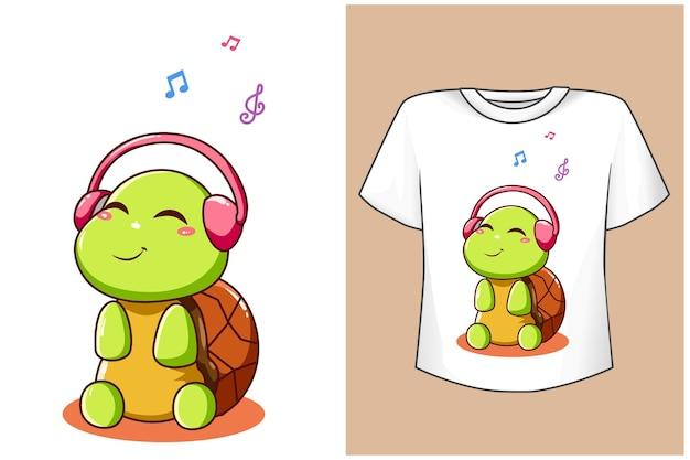 Maquete de tartaruga fofa cantando