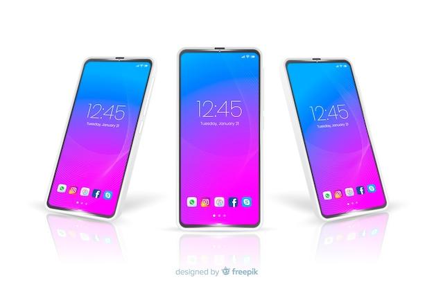 Maquete de telefone celular com vista frontal e lateral