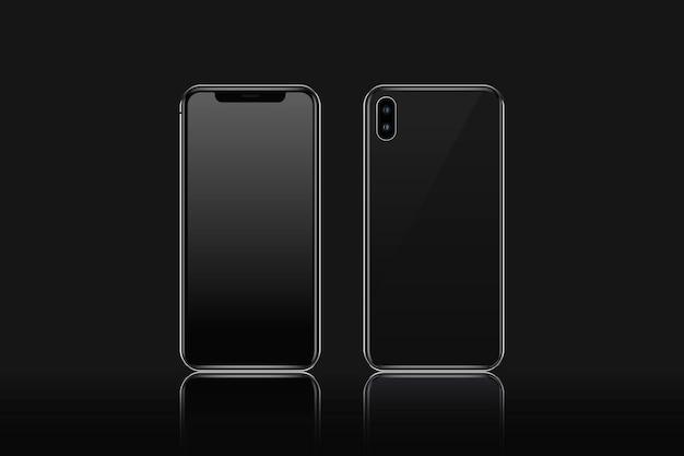 Maquete de telefone celular vista frontal e traseira