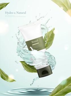 Maquete de tubo de conceito de cuidados com a pele simples e natural cercado por respingos de água com folhas voadoras