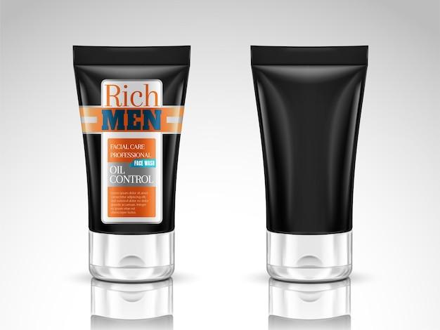 Maquete de tubo de lavagem facial, design de pacote de tubo cosmético em ilustração 3d isolado no fundo branco