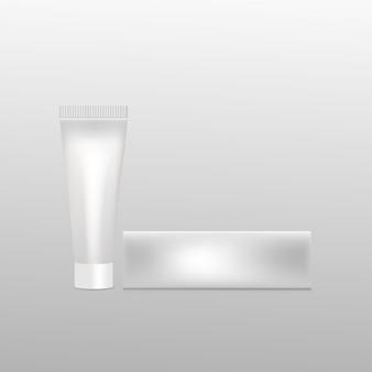 Maquete de tubo de plástico com caixa
