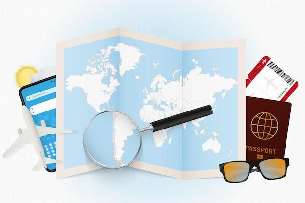 Maquete de turismo de destino de viagem no chile com equipamento de viagem e mapa-múndi